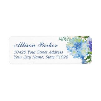 Etiquetas de endereço azuis do hydrangea da