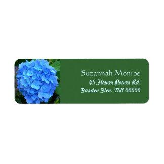 Etiquetas de endereço azuis do Hydrangea Etiqueta Endereço De Retorno