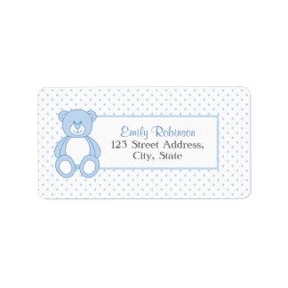 Etiquetas de endereço azuis do urso de ursinho