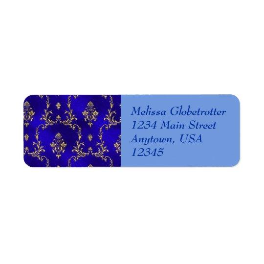 Etiquetas de endereço--Azul & ouro Etiqueta Endereço De Retorno