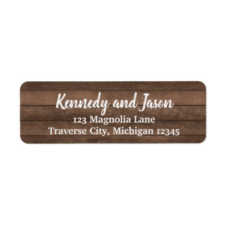 Etiquetas de endereço brancas de madeira escuras