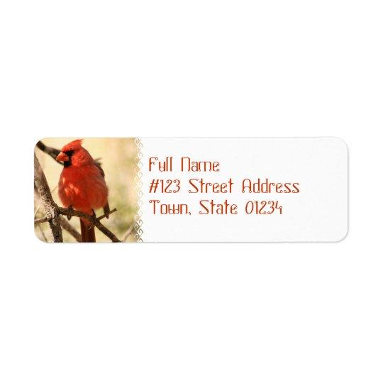 Etiquetas de endereço cardinais vermelhas etiqueta endereço de retorno