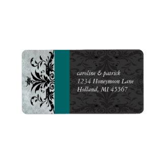 Etiquetas de endereço cinzentas do damasco de