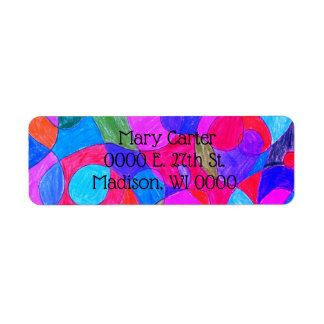 Etiquetas de endereço coloridas da arte da bolha