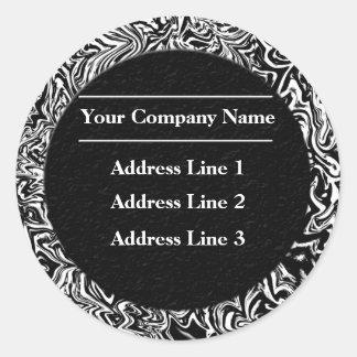 Etiquetas de endereço comercial preto e branco adesivo