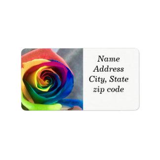 Etiquetas de endereço cor-de-rosa do arco-íris