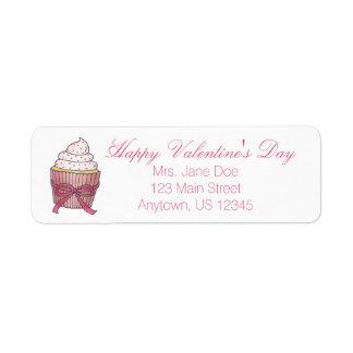 Etiquetas de endereço cor-de-rosa do cupcake do etiqueta endereço de retorno