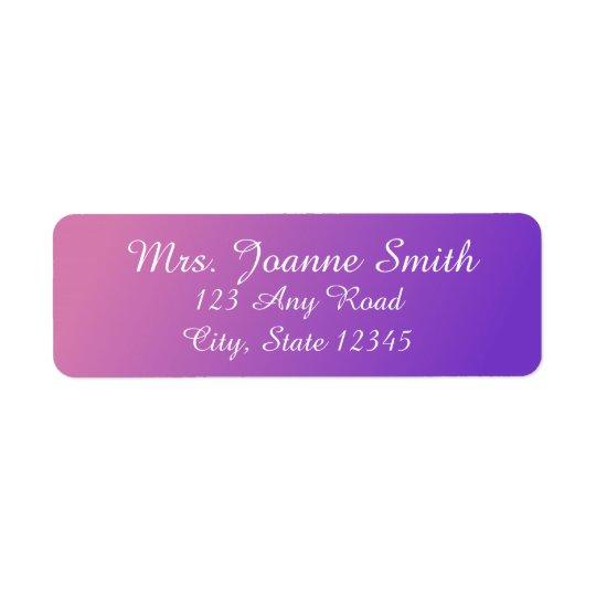 Etiquetas de endereço cor-de-rosa/roxas etiqueta endereço de retorno