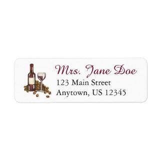 Etiquetas de endereço da adega do vinho da garrafa