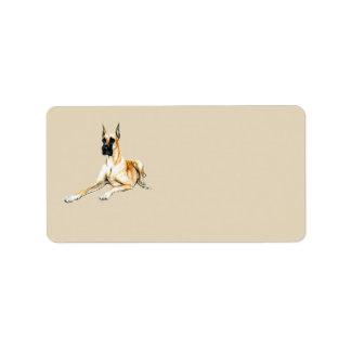 Etiquetas de endereço da arte do cão de great dane