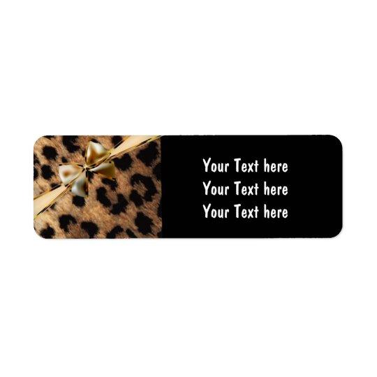 Etiquetas de endereço da chita do leopardo do arco etiqueta endereço de retorno