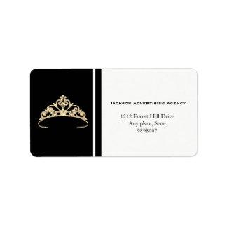 Etiquetas de endereço da coroa da tiara do ouro da