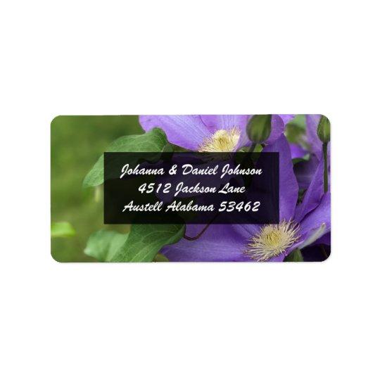 Etiquetas de endereço da flor do Clematis roxo Etiqueta De Endereço