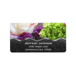 Etiquetas de endereço da flor etiqueta de endereço