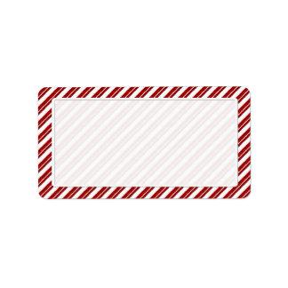 Etiquetas de endereço da listra do bastão de doces