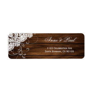 Etiquetas de endereço da madeira & do casamento do etiqueta endereço de retorno
