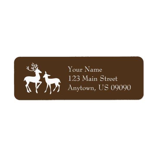 Etiquetas de endereço da rena (Brown) Etiqueta Endereço De Retorno