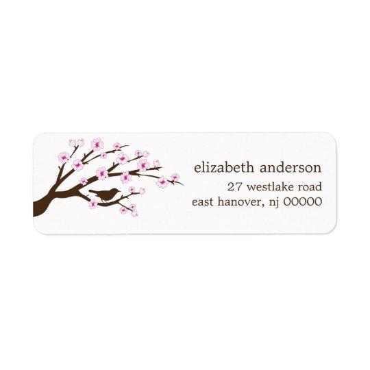 Etiquetas de endereço das flores de cerejeira