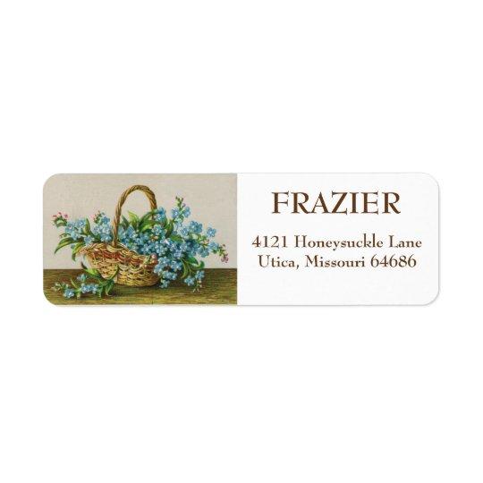 Etiquetas de endereço das flores do miosótis do