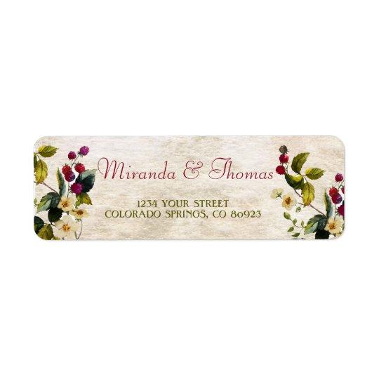 Etiquetas de endereço das flores e das bagas etiqueta endereço de retorno