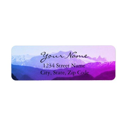 Etiquetas de endereço das montanhas roxas etiqueta endereço de retorno