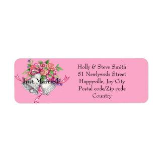 Etiquetas de endereço de Bels de casamento do