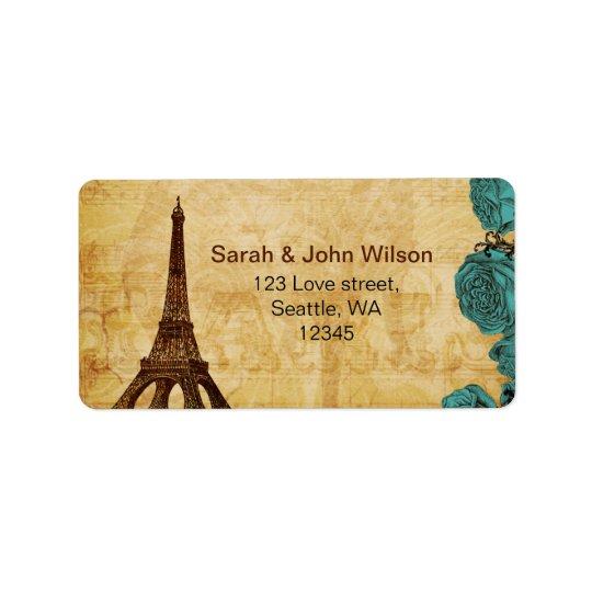 etiquetas de endereço de Paris da torre Eiffel do
