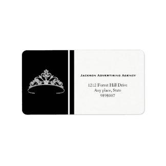 Etiquetas de endereço de prata da coroa da tiara