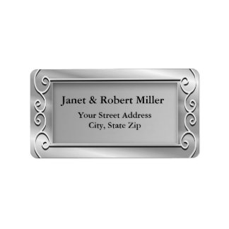 Etiquetas de endereço de prata elegantes do fundo etiqueta de endereço