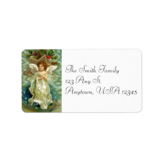 Etiquetas de endereço do anjo do natal vintage