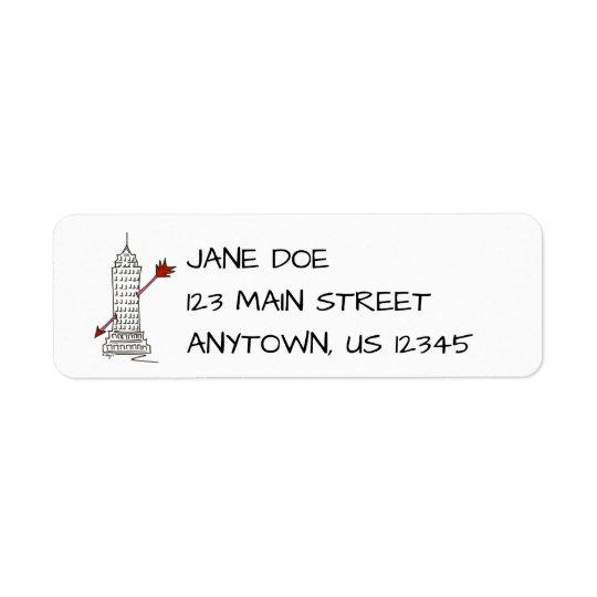 Etiquetas de endereço do arranha-céus dos etiqueta endereço de retorno