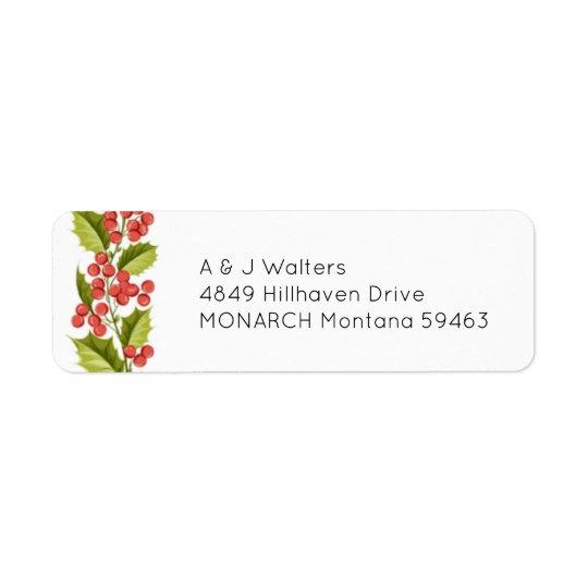 Etiquetas de endereço do azevinho do Natal Etiqueta Endereço De Retorno