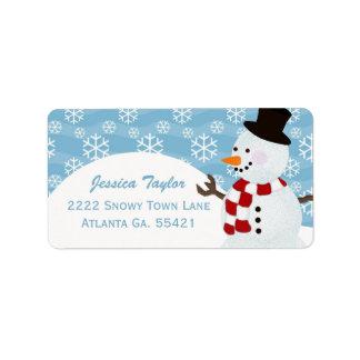 Etiquetas de endereço do boneco de neve