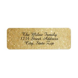 Etiquetas de endereço do brilho do ouro do falso