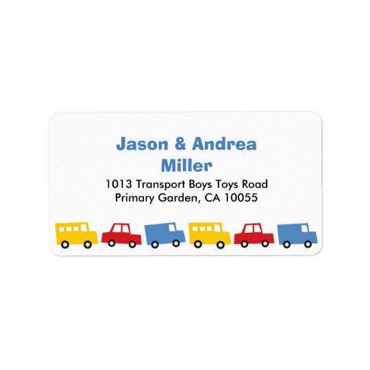 Etiquetas de endereço do caminhão do ônibus do