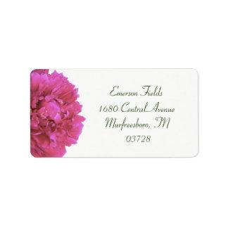 Etiquetas de endereço do casamento da peônia