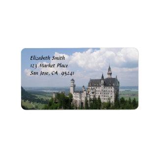 Etiquetas de endereço do castelo do conto de fadas etiqueta de endereço