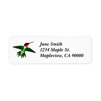 Etiquetas de endereço do colibri etiqueta endereço de retorno