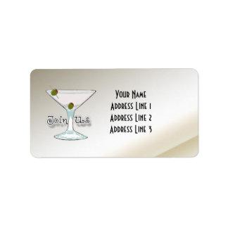 Etiquetas de endereço do convite do cocktail de