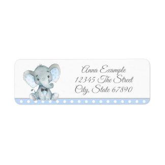 Etiquetas de endereço do elefante do menino