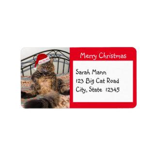 Etiquetas de endereço do Feliz Natal do gato do Etiqueta De Endereço