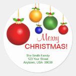 Etiquetas de endereço do feriado do Natal Adesivos Redondos