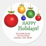 Etiquetas de endereço do feriado do Natal Adesivo Redondo