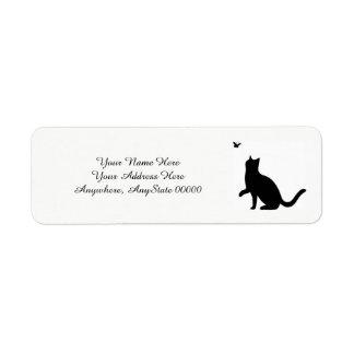 Etiquetas de endereço do gato preto