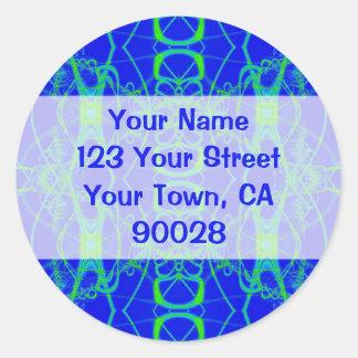 etiquetas de endereço do laço do verde azul adesivos