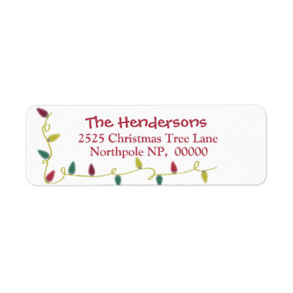 Etiquetas de endereço do Natal com luzes de Natal