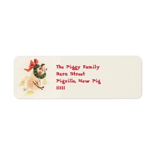 Etiquetas de endereço do porco do Natal Etiqueta Endereço De Retorno