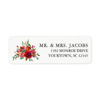 Etiquetas de endereço do remetente - buquê floral etiqueta endereço de retorno