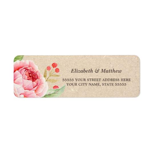 Etiquetas de endereço do remetente cor-de-rosa etiqueta endereço de retorno