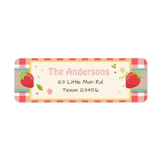 Etiquetas de endereço do remetente da morango do